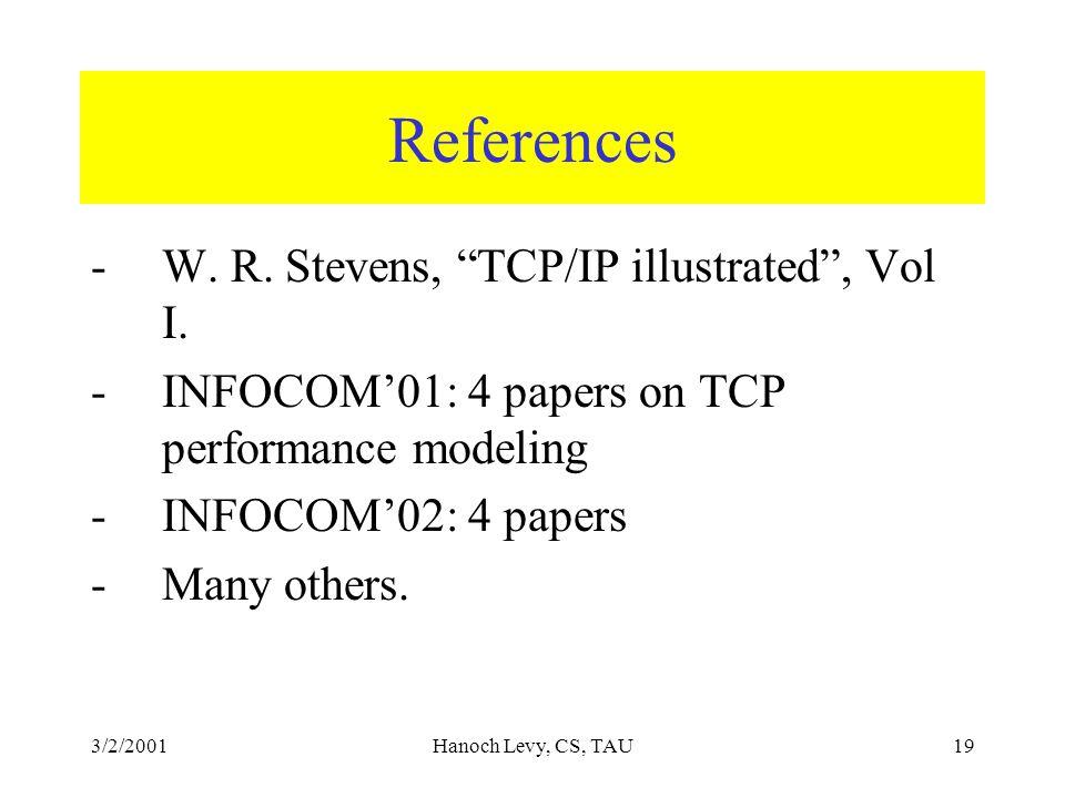3/2/2001Hanoch Levy, CS, TAU19 References -W. R. Stevens, TCP/IP illustrated , Vol I.