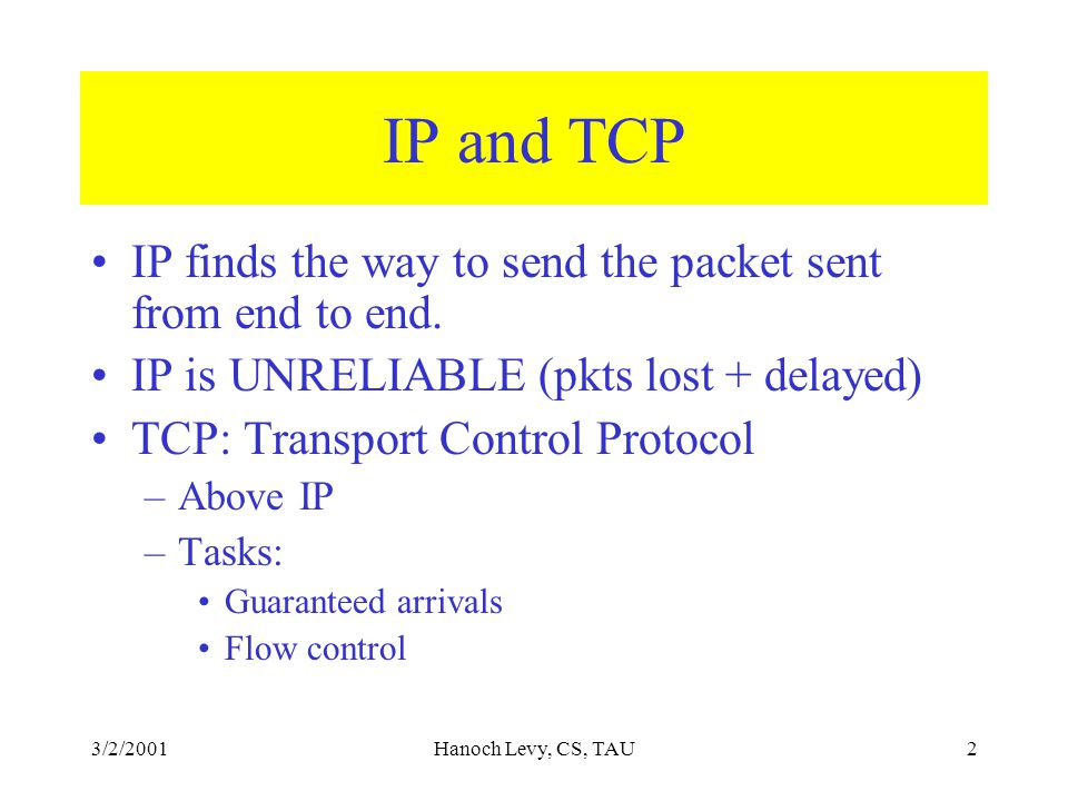 3/2/2001Hanoch Levy, CS, TAU2 IP and TCP IP finds the way to send the packet sent from end to end.