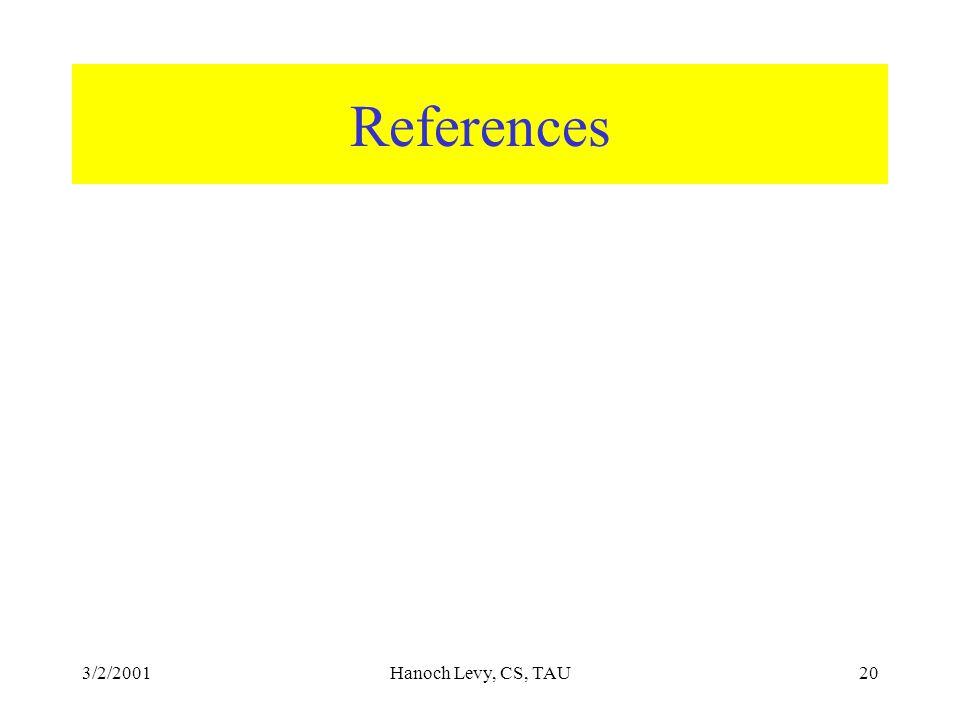 3/2/2001Hanoch Levy, CS, TAU20 References