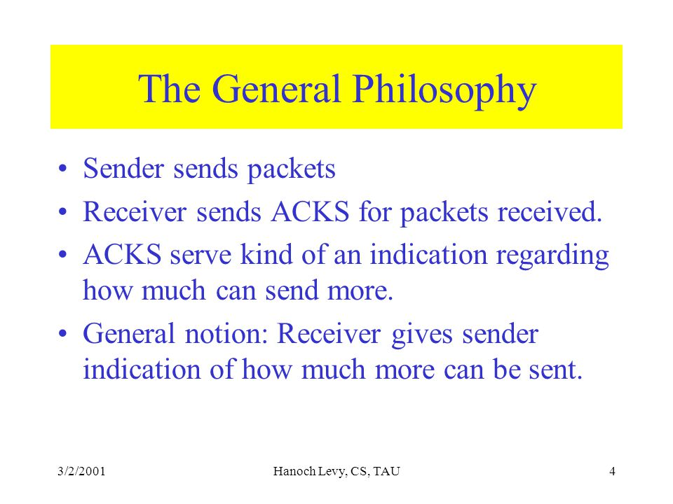3/2/2001Hanoch Levy, CS, TAU4 The General Philosophy Sender sends packets Receiver sends ACKS for packets received.