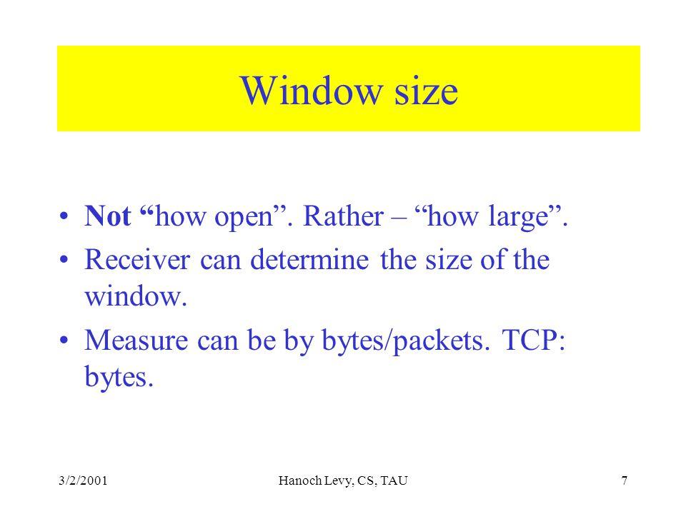 3/2/2001Hanoch Levy, CS, TAU7 Window size Not how open .