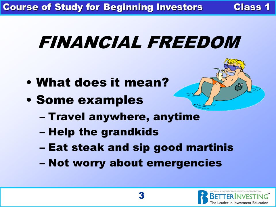 Course of Study for Beginning Investors Class 1 3 FINANCIAL FREEDOM What does it mean? Some examples –Travel anywhere, anytime –Help the grandkids –Ea