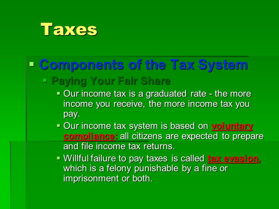 Taxes  Components of the Tax System  Paying Your Fair Share  Our income tax is a graduated rate - the more income you receive, the more income tax