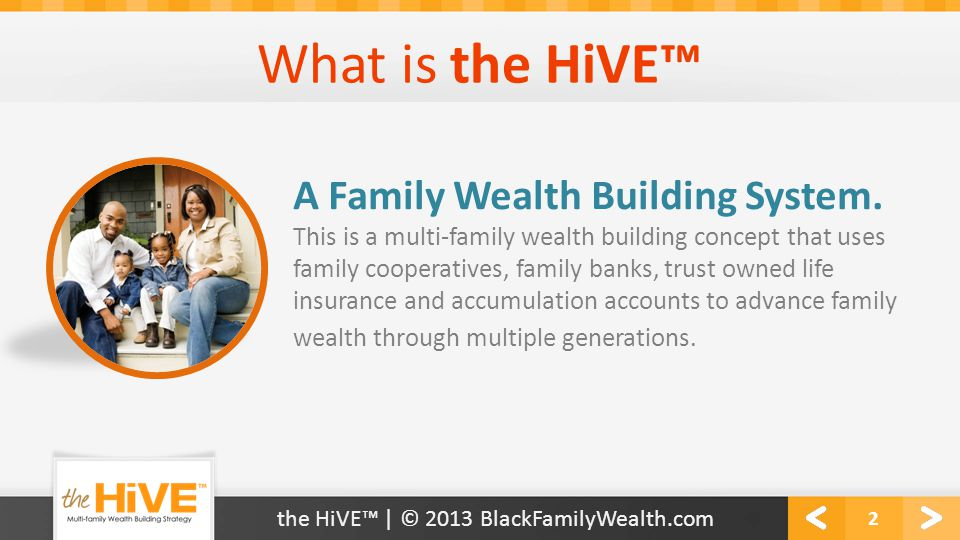 What is the HiVE™ 2 This is a multi-family wealth building concept that uses family cooperatives, family banks, trust owned life insurance and accumul