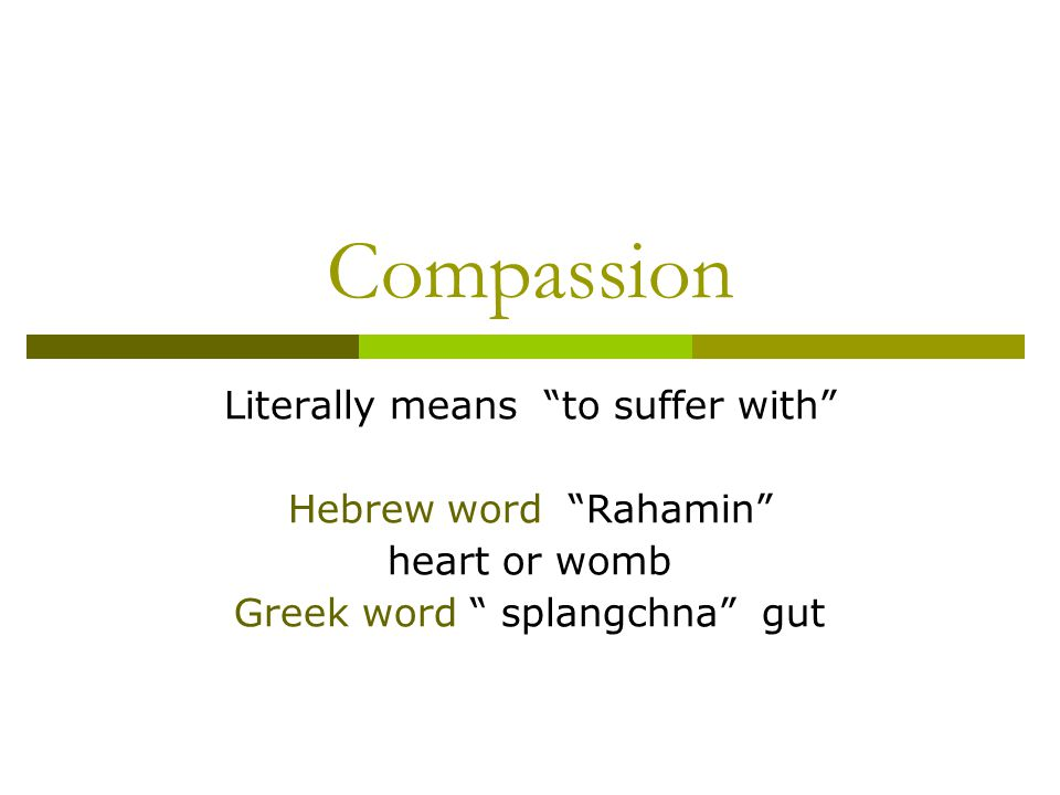 Compassion Literally means to suffer with Hebrew word Rahamin heart or womb Greek word splangchna gut