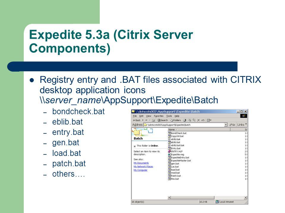 Expedite 5.3a (Citrix Server Components) Registry entry and.BAT files associated with CITRIX desktop application icons \\server_name\AppSupport\Expedite\Batch – bondcheck.bat – eblib.bat – entry.bat – gen.bat – load.bat – patch.bat – others….