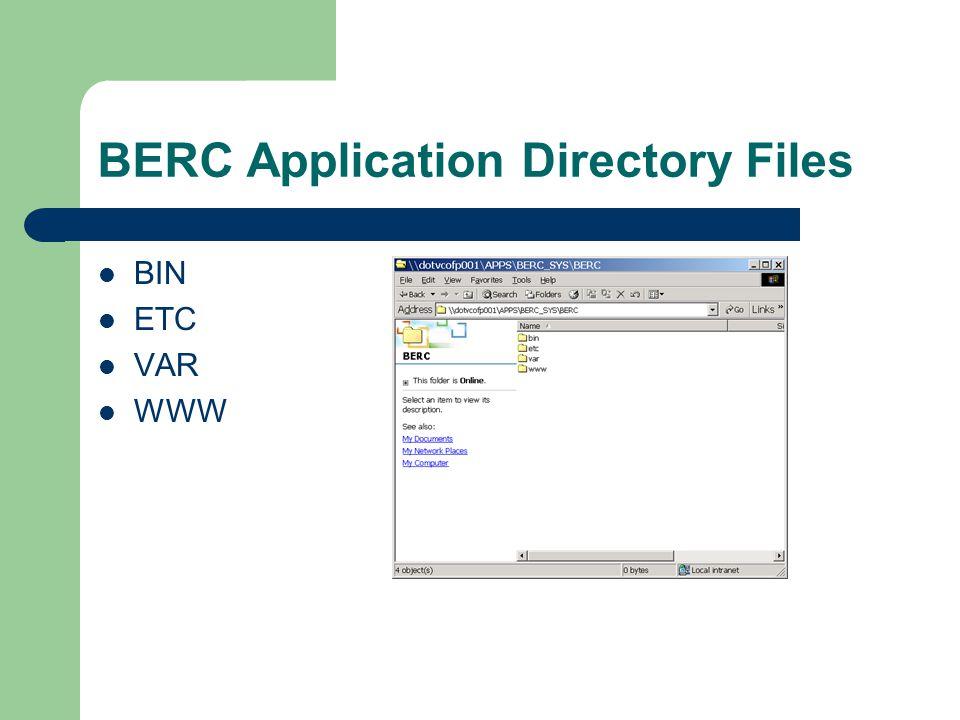 BERC Application Directory Files BIN ETC VAR WWW