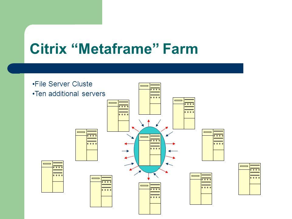 File Server Cluste Citrix Metaframe Farm Ten additional servers