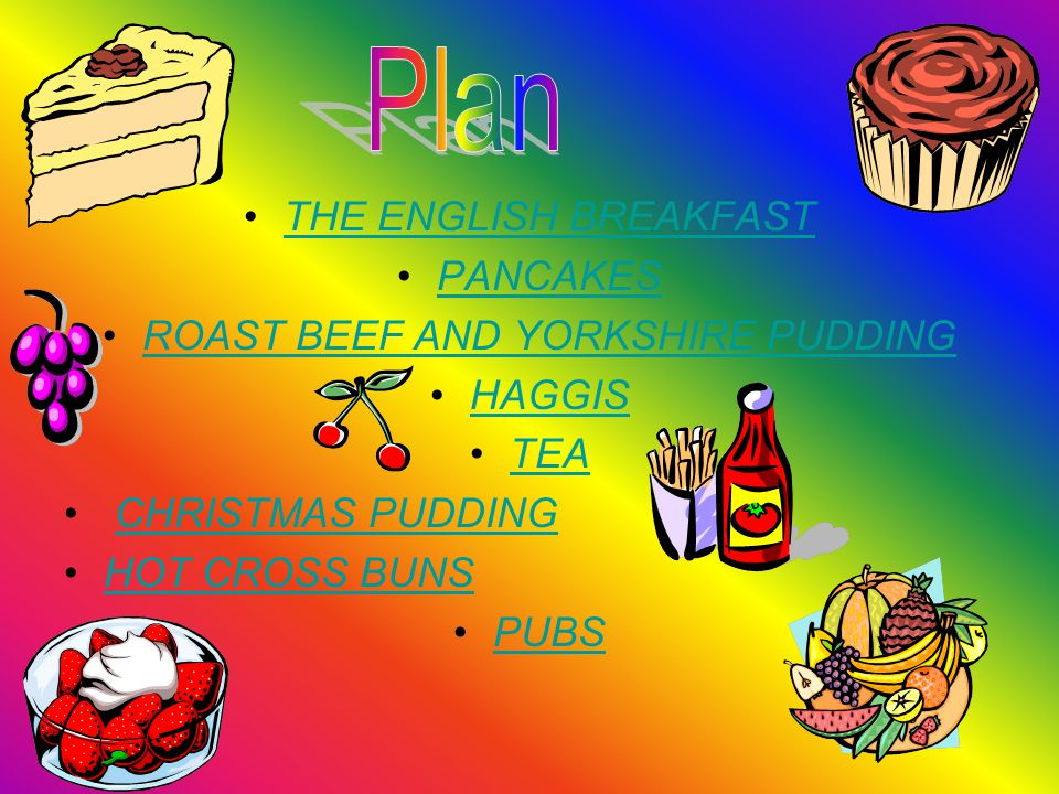 THE ENGLISH BREAKFAST PANCAKES ROAST BEEF AND YORKSHIRE PUDDING HAGGIS TEA CHRISTMAS PUDDING HOT CROSS BUNS PUBS