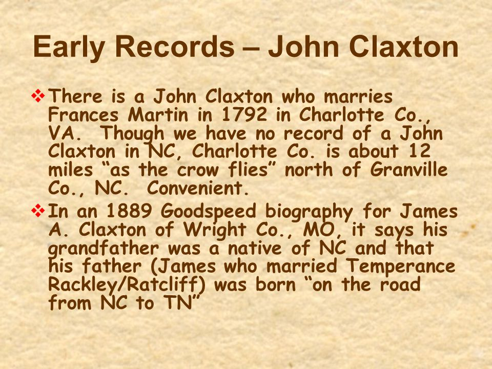 Early Records – John Claxton  There is a John Claxton who marries Frances Martin in 1792 in Charlotte Co., VA. Though we have no record of a John Cla