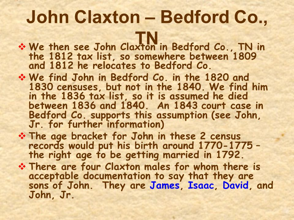 John Claxton – Bedford Co., TN  We then see John Claxton in Bedford Co., TN in the 1812 tax list, so somewhere between 1809 and 1812 he relocates to
