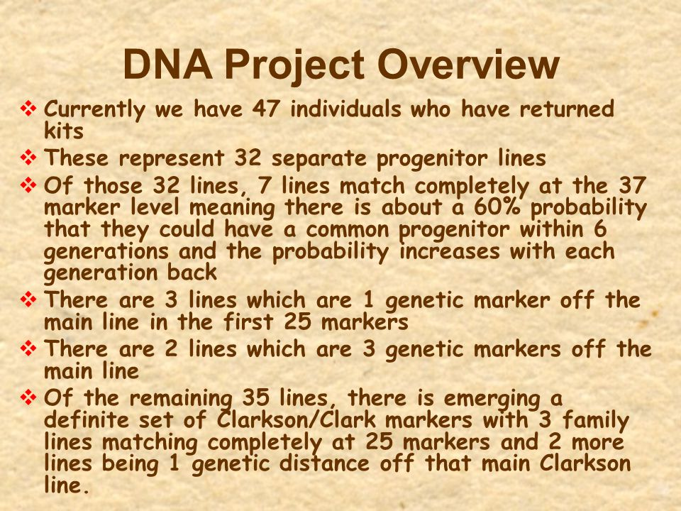 DNA Project Overview  Currently we have 47 individuals who have returned kits  These represent 32 separate progenitor lines  Of those 32 lines, 7 l
