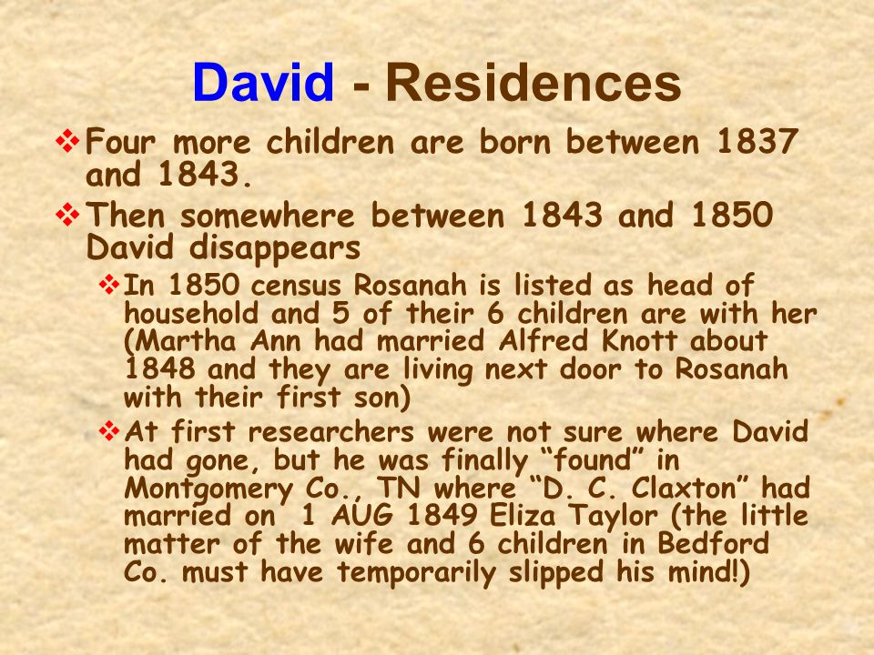 David - Residences  Four more children are born between 1837 and 1843.  Then somewhere between 1843 and 1850 David disappears  In 1850 census Rosan