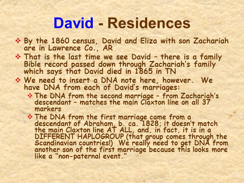 David - Residences  By the 1860 census, David and Eliza with son Zachariah are in Lawrence Co., AR  That is the last time we see David – there is a