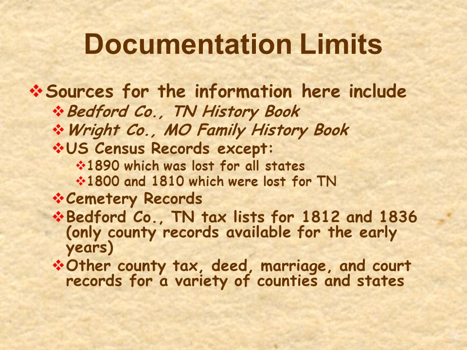 Documentation Limits  Sources for the information here include  Bedford Co., TN History Book  Wright Co., MO Family History Book  US Census Record