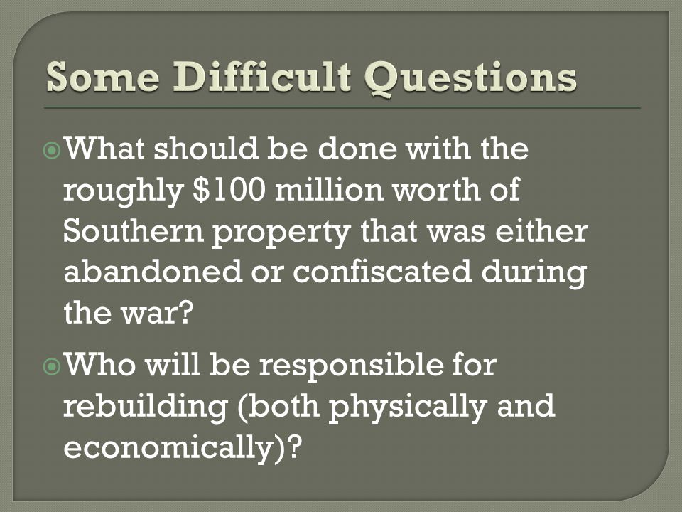  What should be done with the roughly $100 million worth of Southern property that was either abandoned or confiscated during the war.