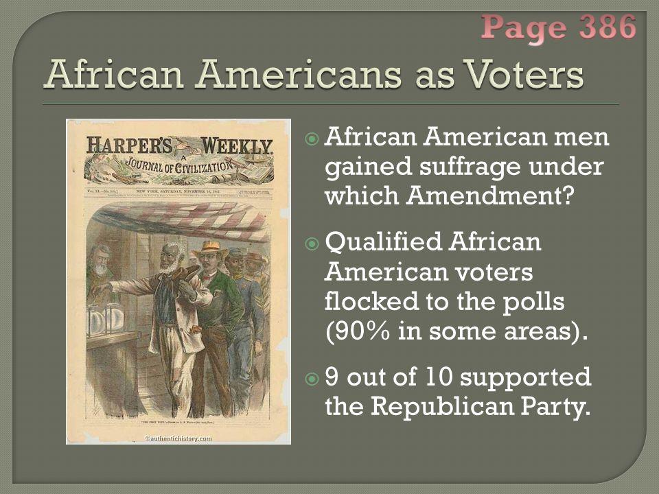  African American men gained suffrage under which Amendment.