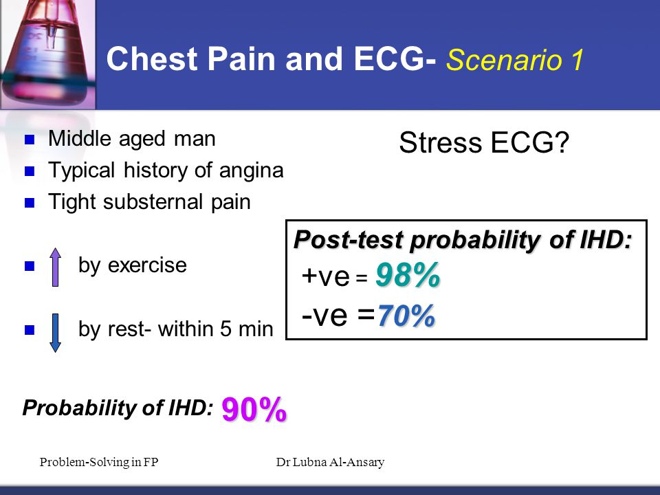 Chest Pain and ECG- Scenario 1 Middle aged man Typical history of angina Tight substernal pain by exercise by rest- within 5 min Probability of IHD: 90% Stress ECG.