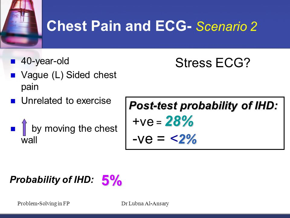 Chest Pain and ECG- Scenario 2 40-year-old Vague (L) Sided chest pain Unrelated to exercise by moving the chest wall Probability of IHD: 5% Stress ECG.
