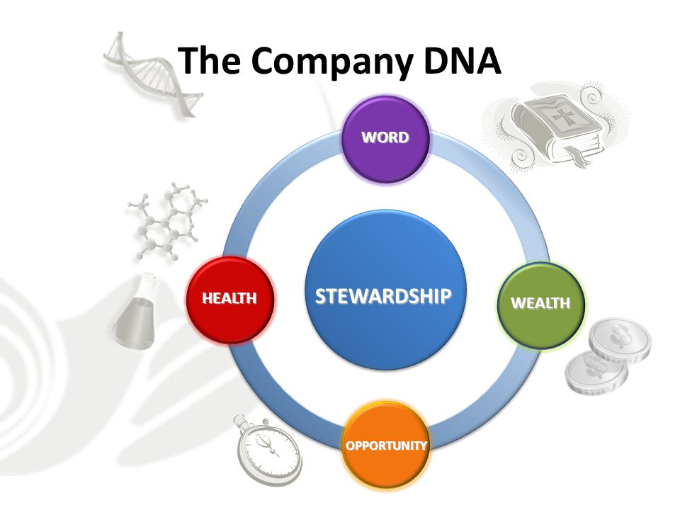 The Company DNA STEWARDSHIP WORD HEALTH WEALTH OPPORTUNITY