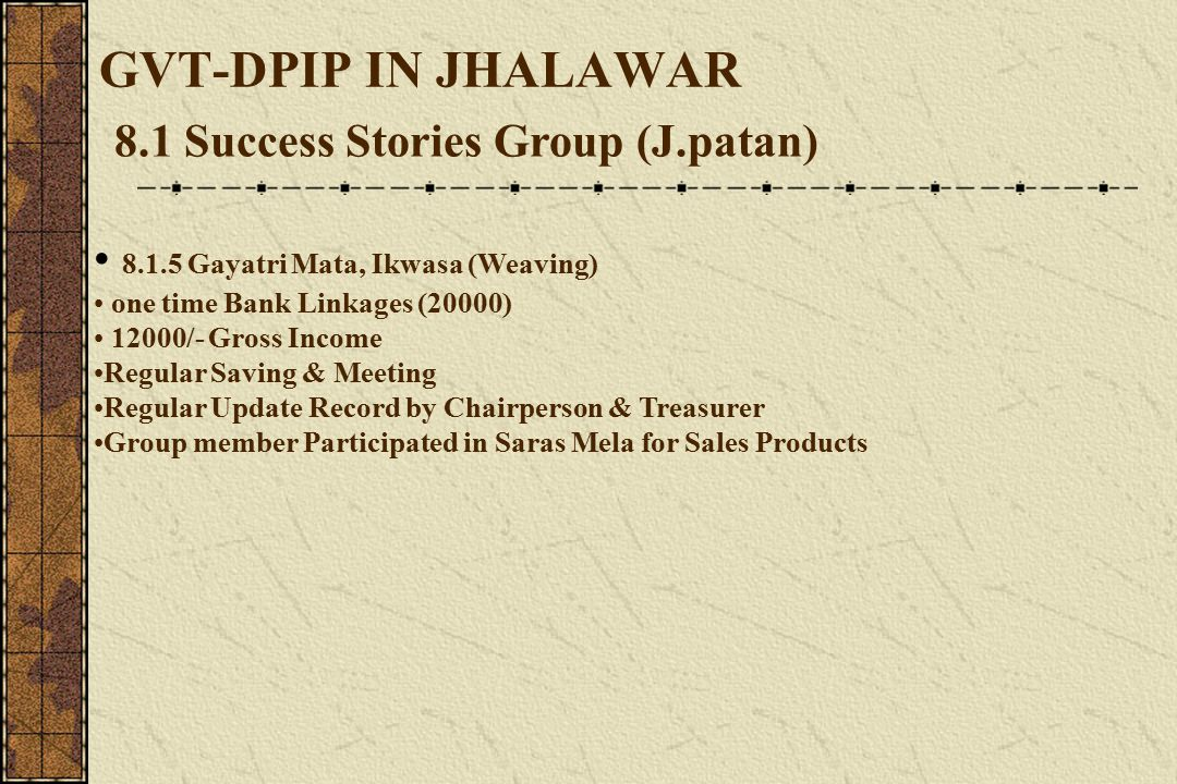 GVT-DPIP IN JHALAWAR 8.1 Success Stories Group (J.patan) 8.1.5 Gayatri Mata, Ikwasa (Weaving) one time Bank Linkages (20000) 12000/- Gross Income Regular Saving & Meeting Regular Update Record by Chairperson & Treasurer Group member Participated in Saras Mela for Sales Products