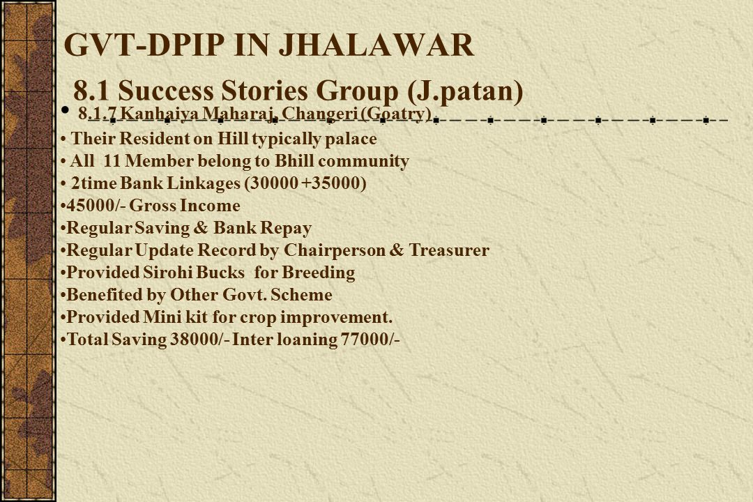 GVT-DPIP IN JHALAWAR 8.1 Success Stories Group (J.patan) 8.1.7 Kanhaiya Maharaj, Changeri (Goatry) Their Resident on Hill typically palace All 11 Member belong to Bhill community 2time Bank Linkages (30000 +35000) 45000/- Gross Income Regular Saving & Bank Repay Regular Update Record by Chairperson & Treasurer Provided Sirohi Bucks for Breeding Benefited by Other Govt.