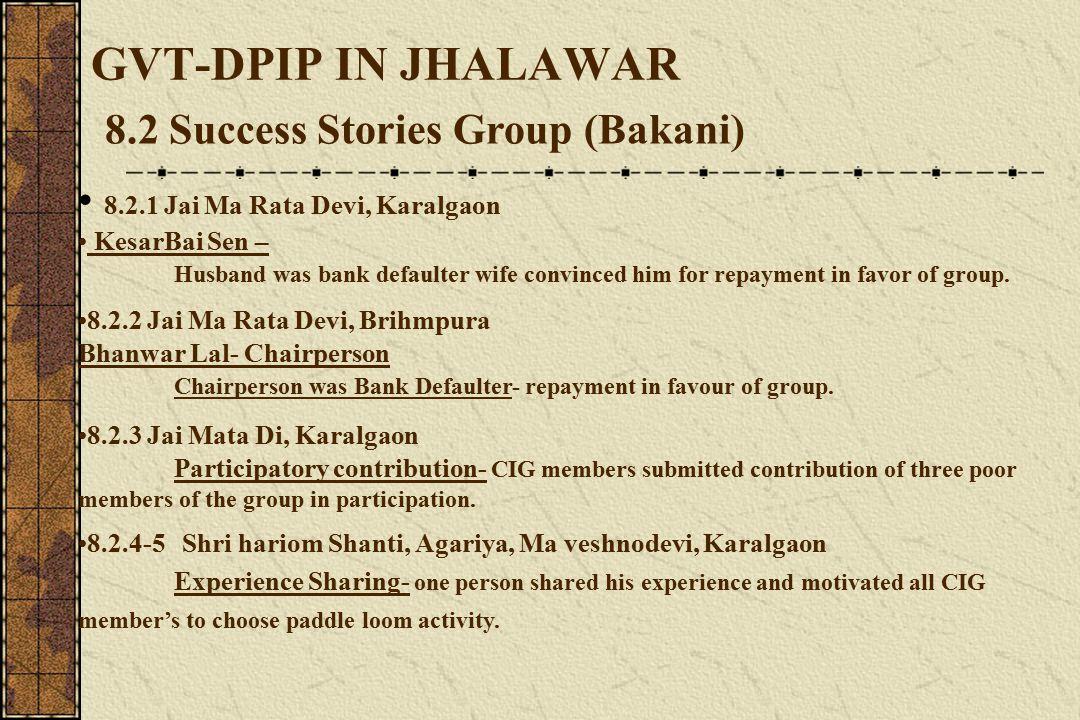 GVT-DPIP IN JHALAWAR 8.2 Success Stories Group (Bakani) 8.2.1 Jai Ma Rata Devi, Karalgaon KesarBai Sen – Husband was bank defaulter wife convinced him for repayment in favor of group.