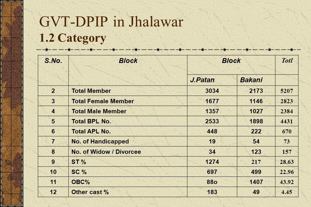 GVT-DPIP in Jhalawar 1.3 Activity wise No.of CIG's benifited S.No.No.