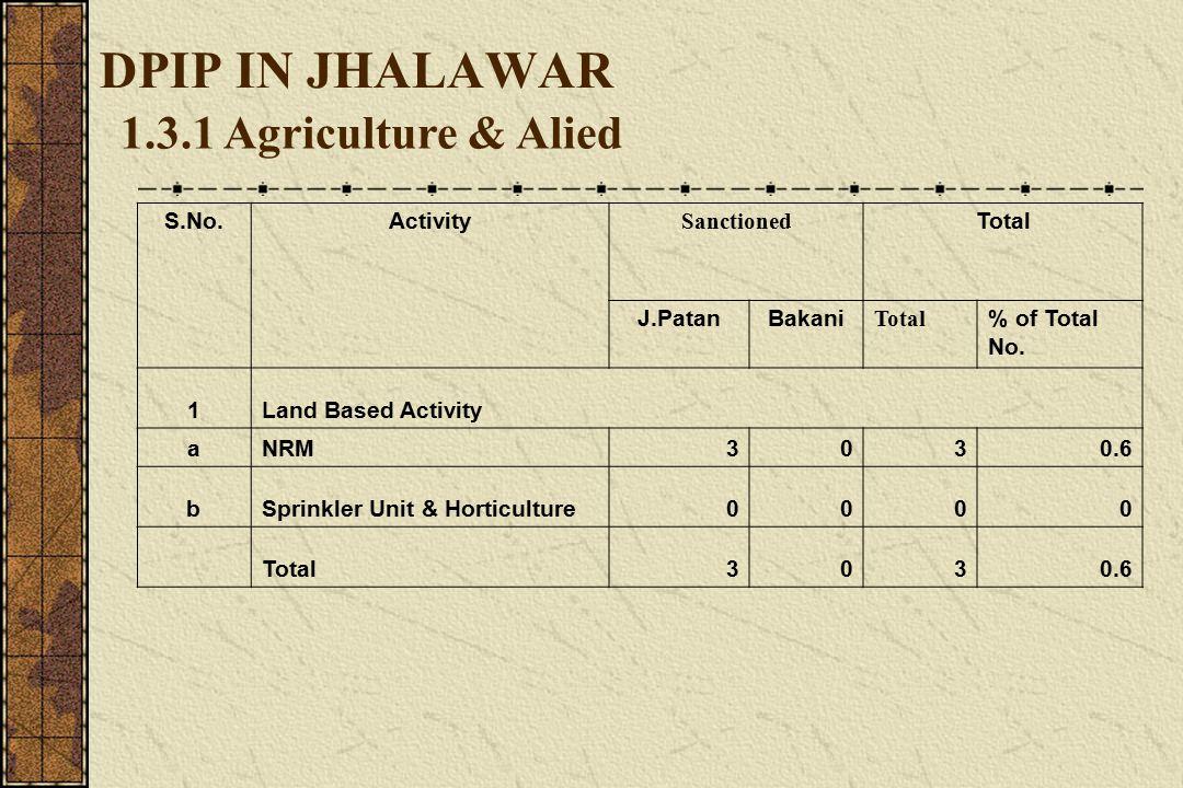 DPIP IN JHALAWAR 1.3.2Non-Farm (Activity) S.No.ActivityJ.PatanBakaniTotal % of Total No.