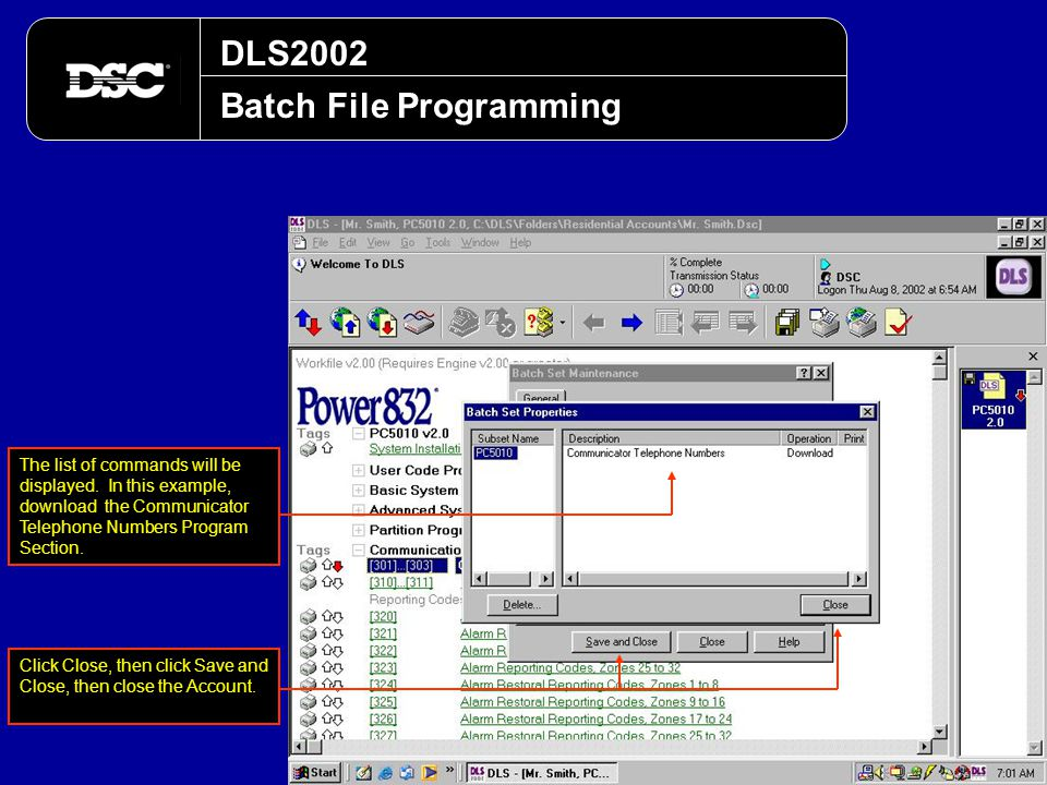 DLS2002 Batch File Programming The list of commands will be displayed. In this example, download the Communicator Telephone Numbers Program Section. C
