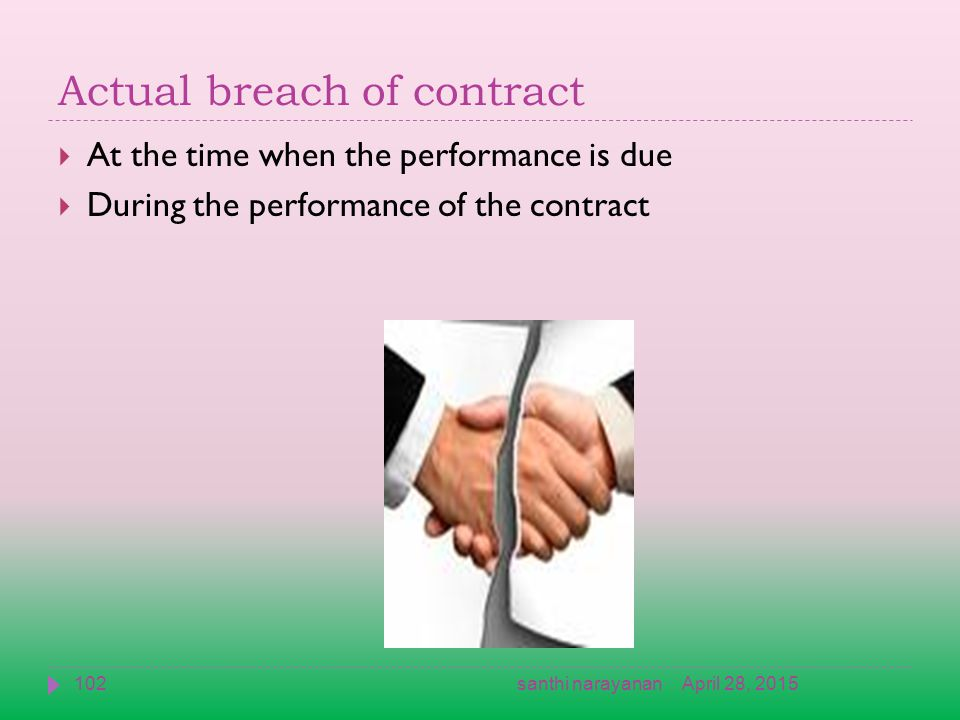 Actual breach of contract  At the time when the performance is due  During the performance of the contract April 28, 2015102santhi narayanan