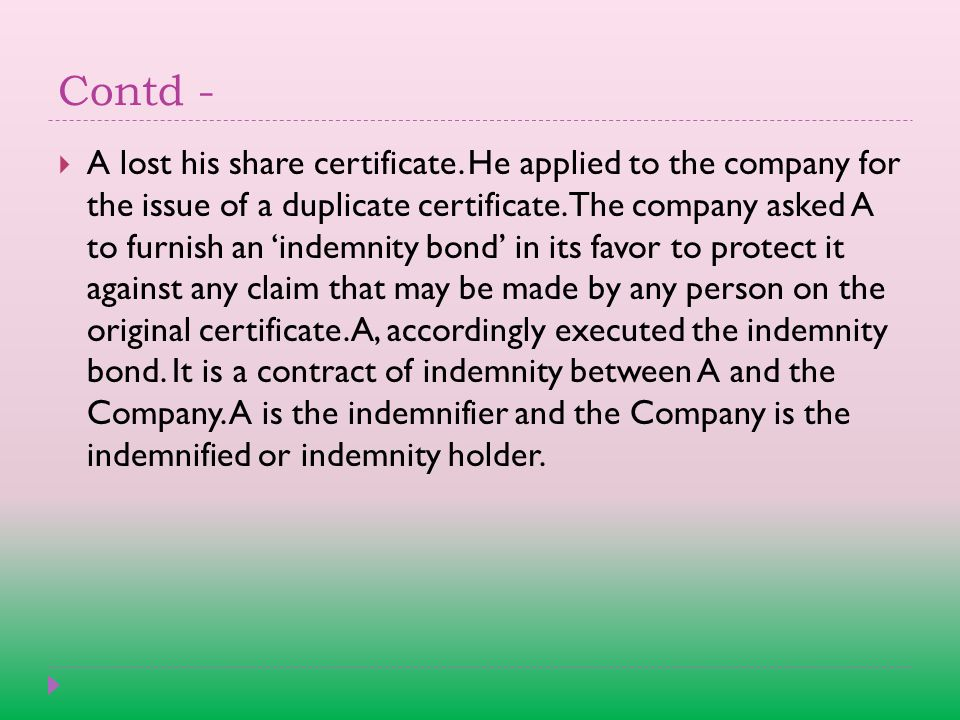 Contd -  A lost his share certificate.