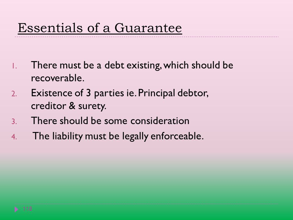 Essentials of a Guarantee 118 1. There must be a debt existing, which should be recoverable.