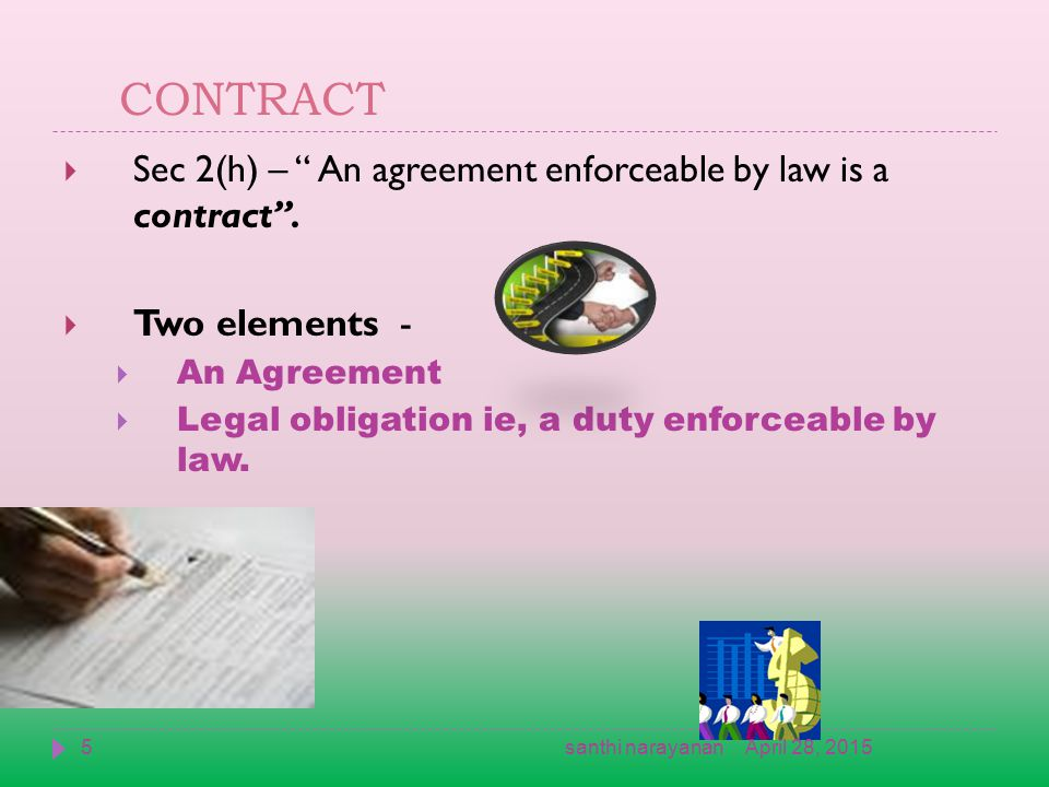CONTRACT  Sec 2(h) – An agreement enforceable by law is a contract .