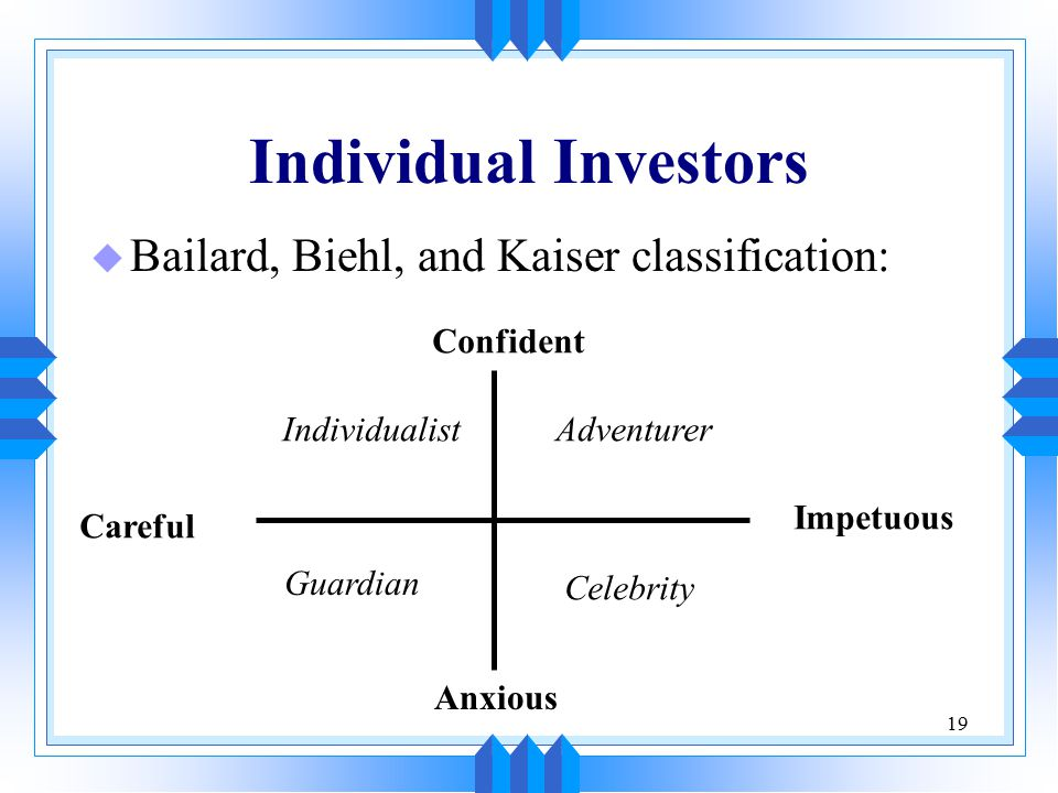 19 Individual Investors u Bailard, Biehl, and Kaiser classification: Careful Impetuous Confident Anxious IndividualistAdventurer Guardian Celebrity