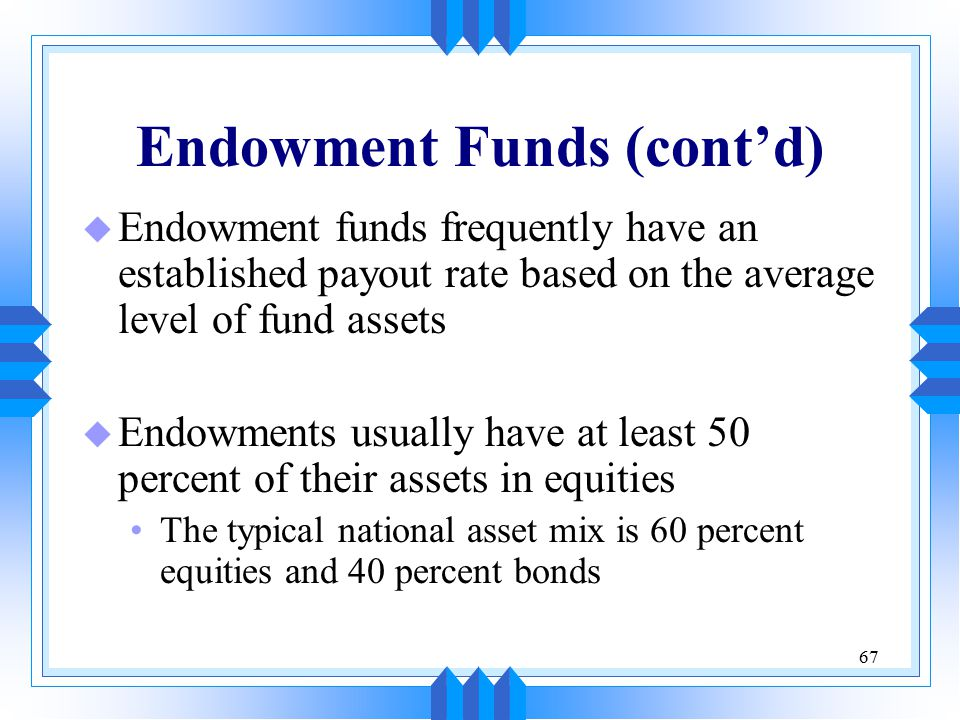 67 Endowment Funds (cont'd) u Endowment funds frequently have an established payout rate based on the average level of fund assets u Endowments usuall