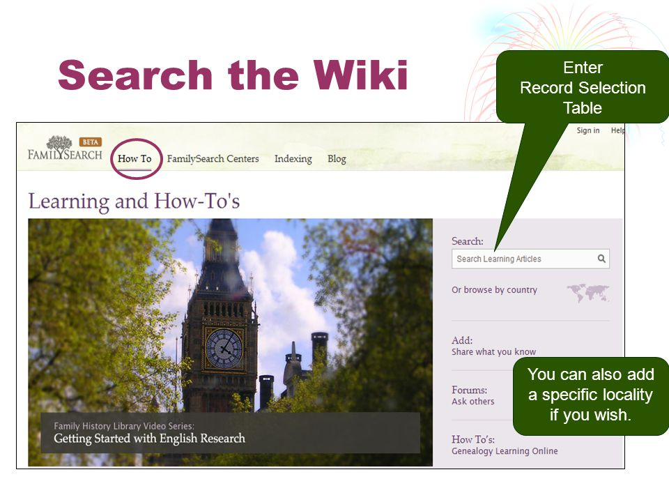 Enter Record Selection Table You can also add a specific locality if you wish. Search the Wiki