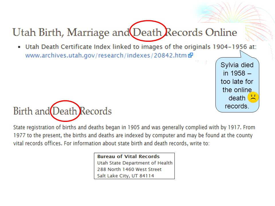 Sylvia died in 1958 – too late for the online death records.
