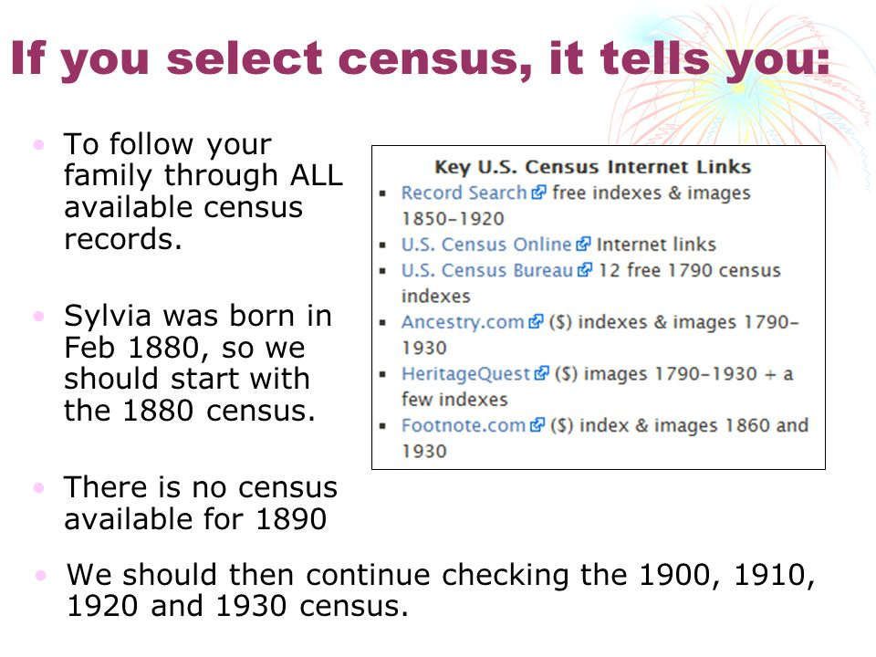 If you select census, it tells you: To follow your family through ALL available census records.
