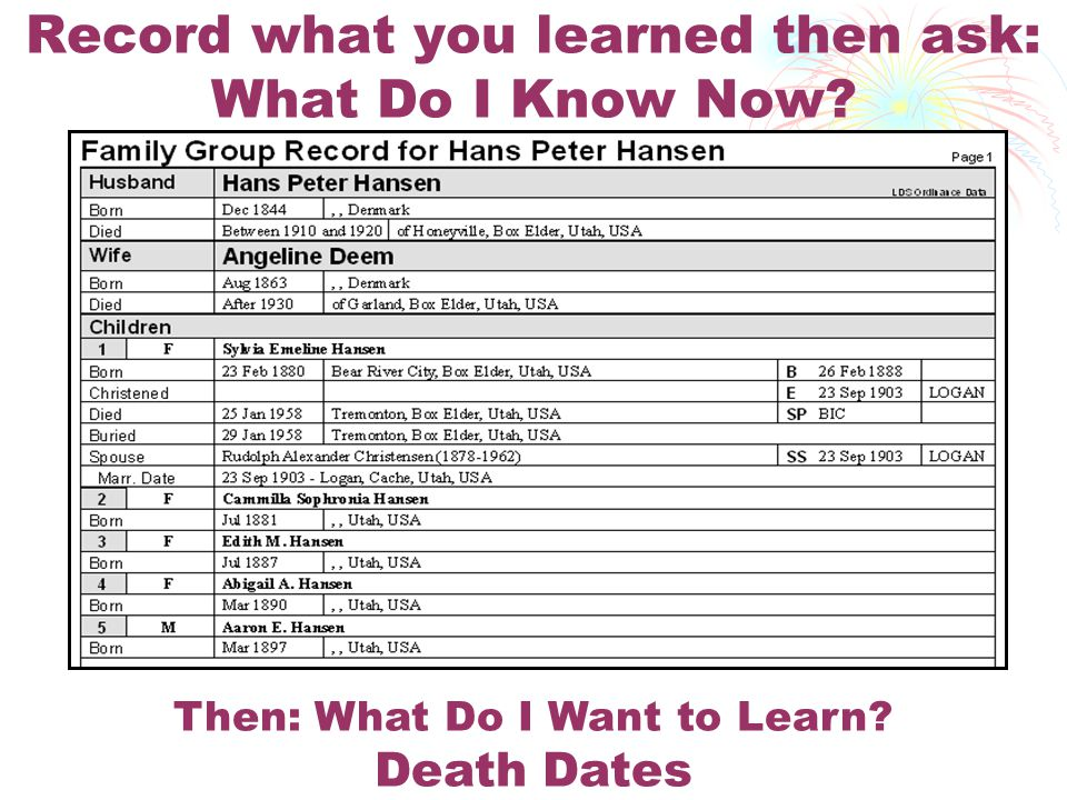 Record what you learned then ask: What Do I Know Now Then: What Do I Want to Learn Death Dates
