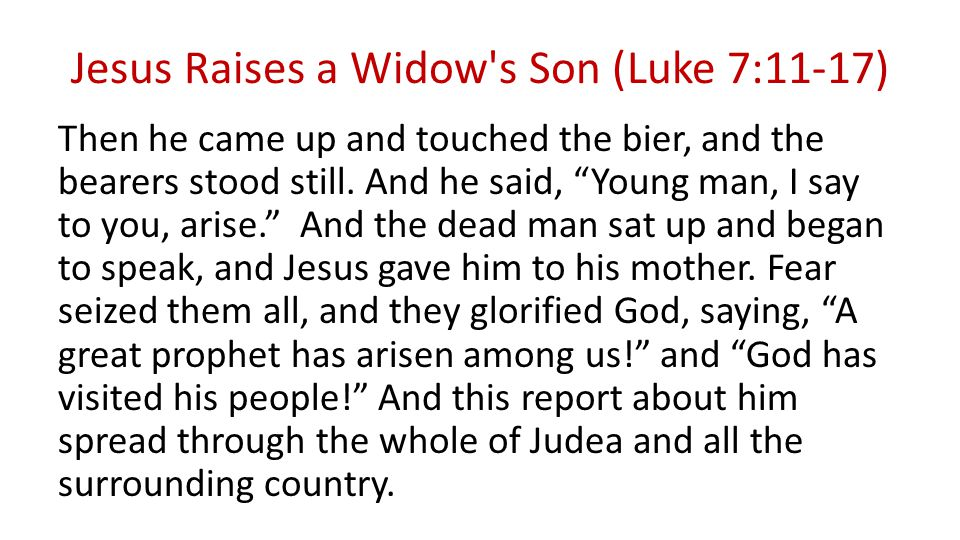 Jesus Raises a Widow s Son (Luke 7:11-17) Then he came up and touched the bier, and the bearers stood still.