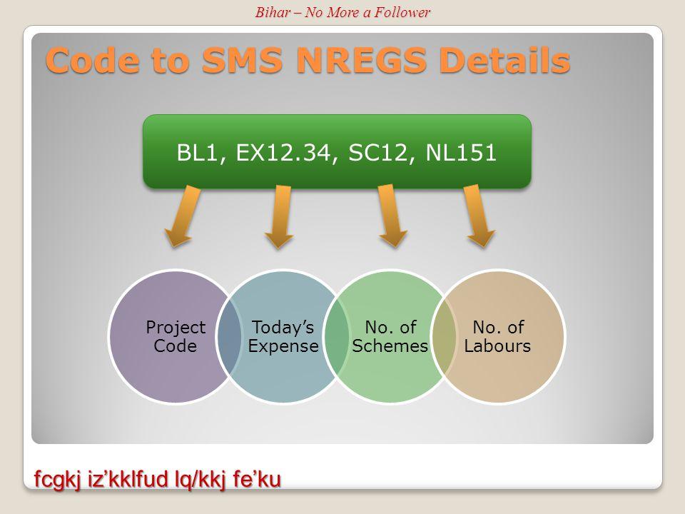 Code to SMS NREGS Details fcgkj iz'kklfud lq/kkj fe'ku Bihar – No More a Follower Project Code Today's Expense No.