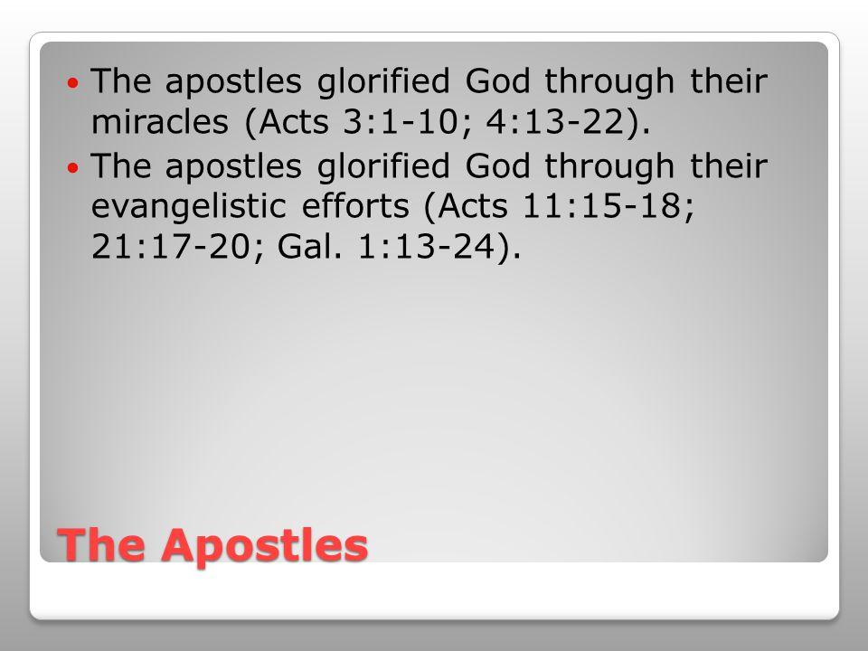 The Apostles The apostles glorified God through their miracles (Acts 3:1-10; 4:13-22). The apostles glorified God through their evangelistic efforts (