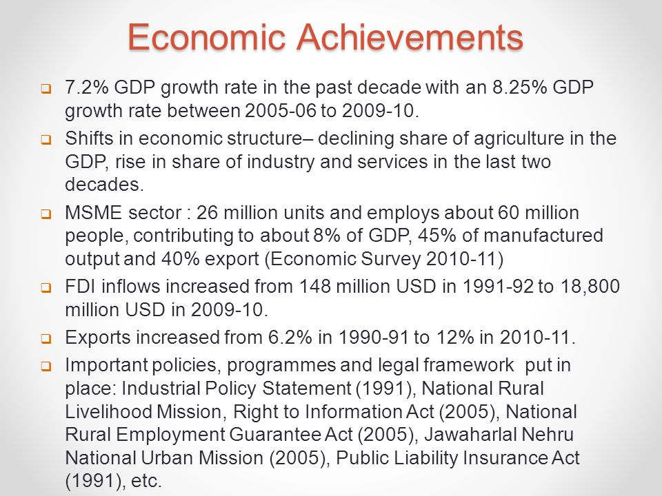 Economic Achievements  7.2% GDP growth rate in the past decade with an 8.25% GDP growth rate between 2005-06 to 2009-10.