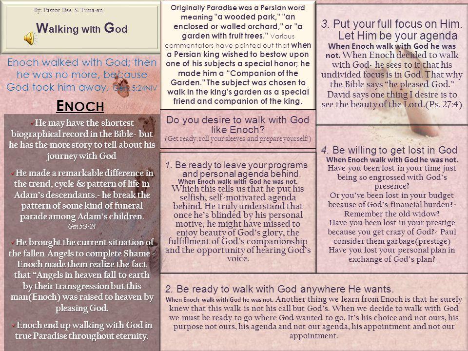 W alking w ith G od By: Pastor Dee S.