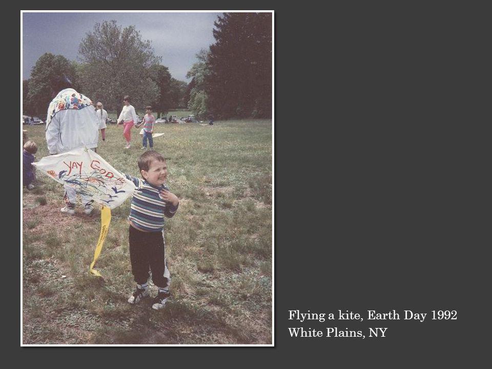 Flying a kite, Earth Day 1992 White Plains, NY