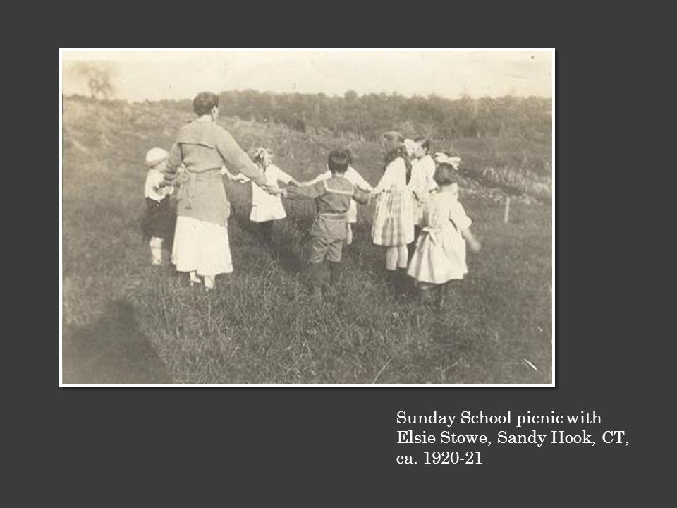 Sunday School picnic with Elsie Stowe, Sandy Hook, CT, ca. 1920-21
