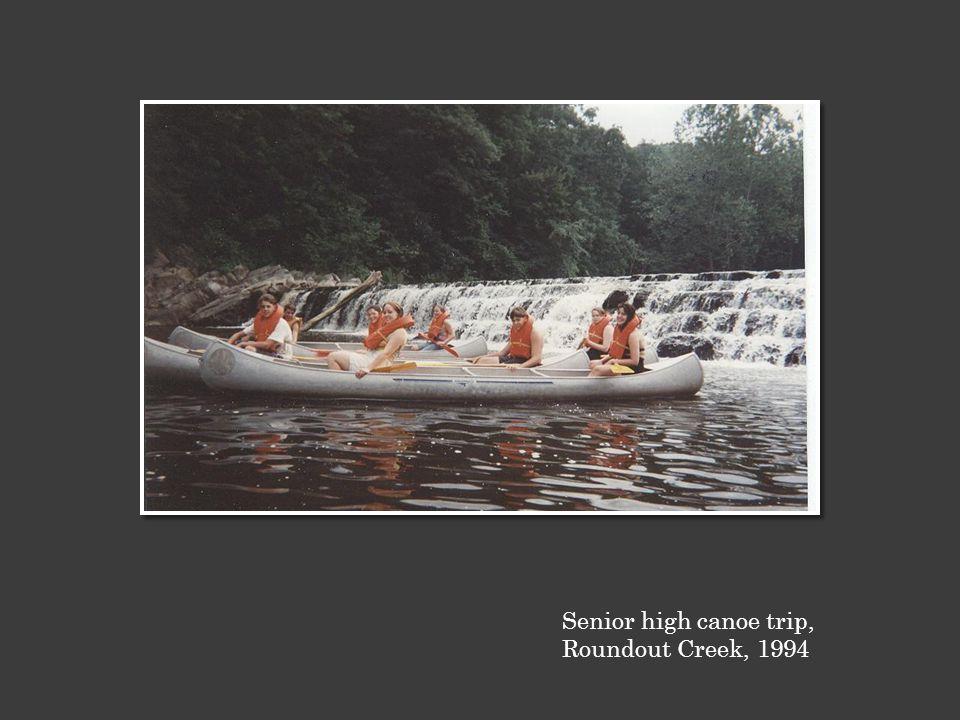 Senior high canoe trip, Roundout Creek, 1994