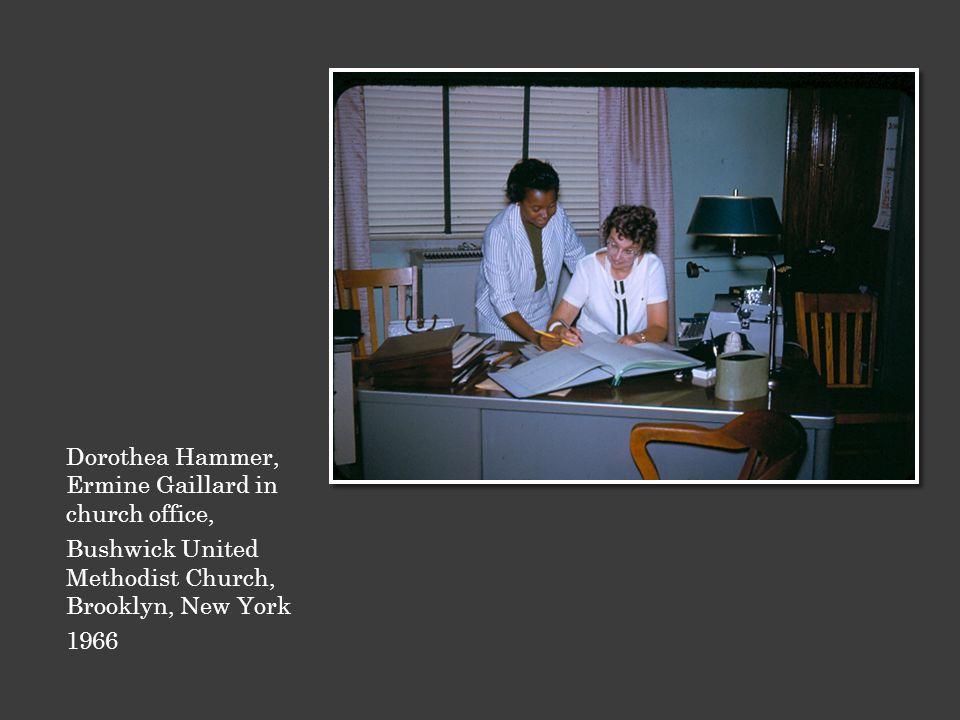 Dorothea Hammer, Ermine Gaillard in church office, Bushwick United Methodist Church, Brooklyn, New York 1966