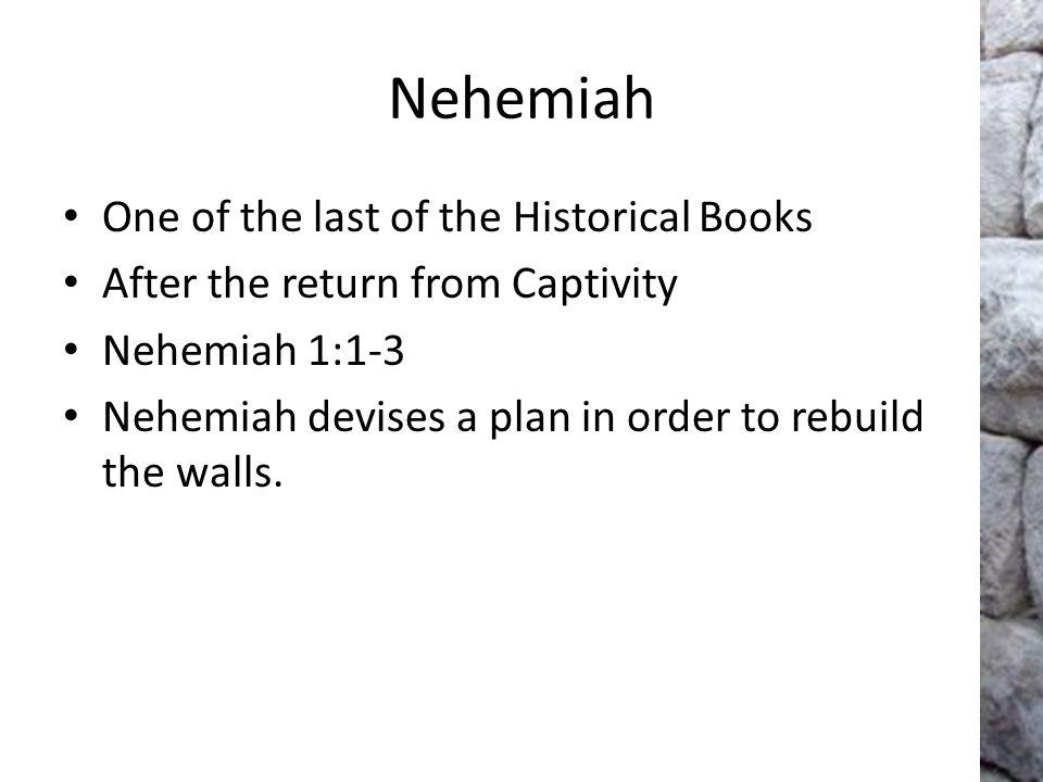 Immediate and Persistent Prayer (Neh.1:1-4) Nehemiah receives devastating news.